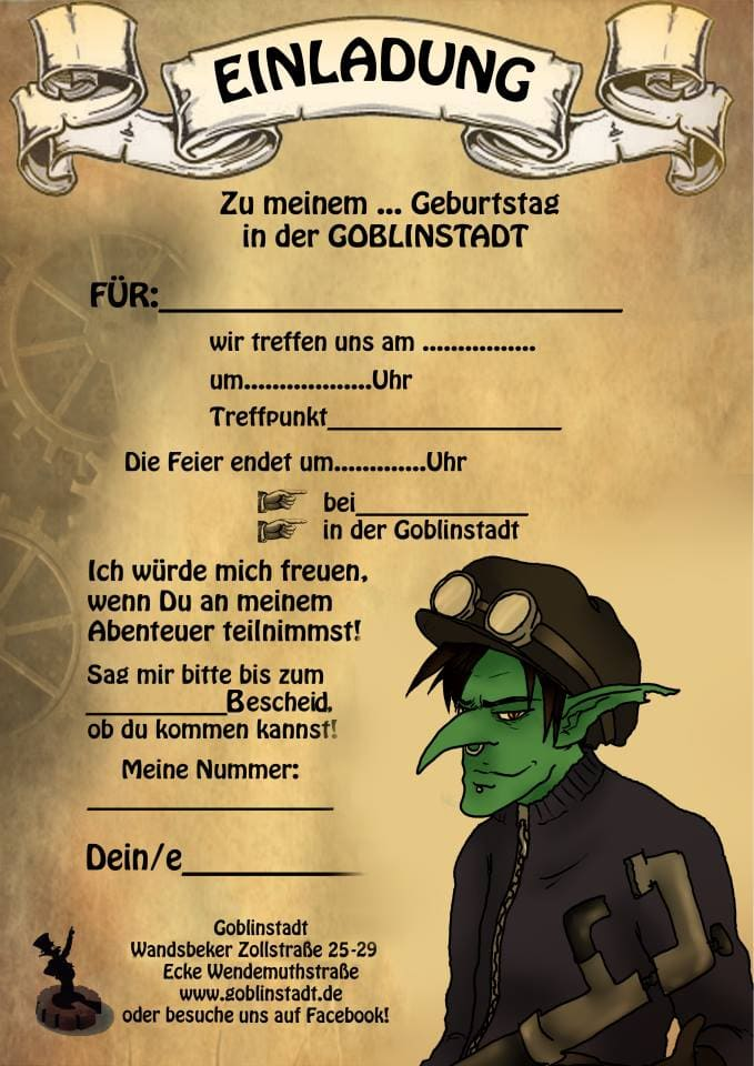Einaldungskarte Goblinstadt