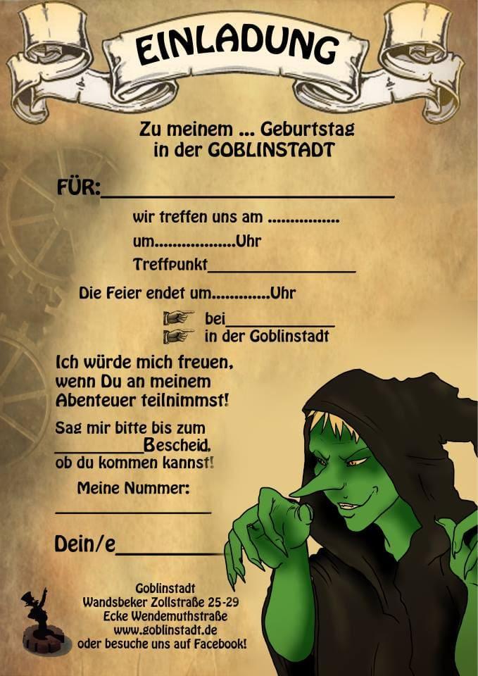 Einladungskarte Goblinstadt